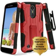 *SALE* Hybrid Armor Case + Holster + Tempered Glass Protector for LG K20 Plus / K20 V / K10 (2017) / Harmony - Red