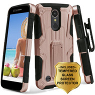 Hybrid Armor Case + Holster + Tempered Glass Screen Protector for LG K20 Plus / K20 V / K10 (2017) / Harmony - Rose Gold