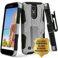 Hybrid Armor Case + Holster + Tempered Glass Screen Protector for LG K20 Plus / K20 V / K10 (2017) / Harmony - Silver