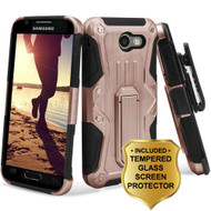 *SALE* HD Holster Case + Tempered Glass for Samsung Galaxy J3 (2017) / J3 Emerge / J3 Prime / Amp Prime 2 - Rose Gold