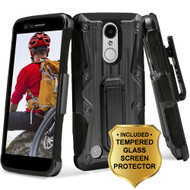 Hybrid Case with Holster and Tempered Glass Screen Protector for LG Aristo / Fortune / K8 (2017) / Phoenix 3 - Black