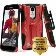 Hybrid Case with Holster and Tempered Glass Screen Protector for LG Aristo / Fortune / K8 (2017) / Phoenix 3 - Red
