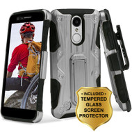 *SALE* Hybrid Case with Holster and Tempered Glass Protector for LG Aristo / Fortune / K8 (2017) / Phoenix 3 - Silver