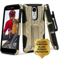 Hybrid Case with Holster and Tempered Glass Screen Protector for LG Aristo / Fortune / K8 (2017) / Phoenix 3 - Gold