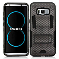 Transformer Hybrid Armor Case with Stand for Samsung Galaxy S8 Plus - Carbon Fiber