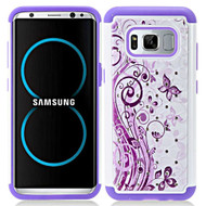 TotalDefense Diamond Hybrid Armor Case for Samsung Galaxy S8 - Butterfly Purple