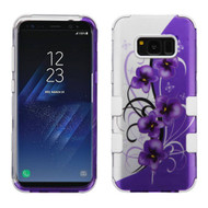 Military Grade Certified TUFF Image Hybrid Armor Case for Samsung Galaxy S8 Plus - Twilight Petunias
