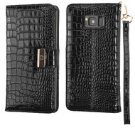 Crocodile Embossed Leather Wallet Case for Samsung Galaxy S8 Plus - Black
