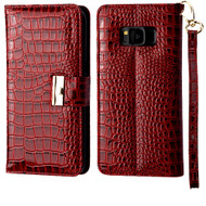 Crocodile Embossed Leather Wallet Case for Samsung Galaxy S8 Plus - Burgundy