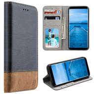 Urban Textile Dual Tone Leather Wallet Case for Samsung Galaxy S8 Plus - Ink Blue