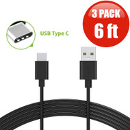 6 ft. USB 3.1 Type-C (USB-C) to Type-A (USB-A) Charge and Sync Cable - 3 Pack Black