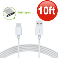 10 ft. USB 3.1 Type-C (USB-C) to Type-A (USB-A) Charge and Sync Cable - White