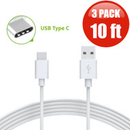 10 ft. USB 3.1 Type-C (USB-C) to Type-A (USB-A) Charge and Sync Cable - 3 Pack White