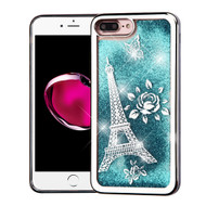 *Sale* Electroplating Quicksand Glitter Transparent Case for iPhone 8 Plus / 7 Plus - Eiffel Tower Silver