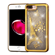 Electroplating Quicksand Glitter Transparent Case for iPhone 8 Plus / 7 Plus - Eiffel Tower Gold