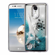 Electroplating Quicksand Glitter Transparent Case for LG Aristo / Fortune / K8 (2017) / Phoenix 3 - Eiffel Tower Silver