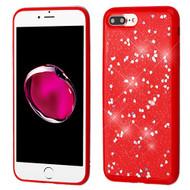 Luxury Bling Glitter Krystal Gel Case for iPhone 8 Plus / 7 Plus - Hearts Red