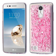 Krystal Gel Series Flakes Transparent TPU Case for LG Aristo / Fortune / K8 (2017) / Phoenix 3 - Pink