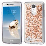 Krystal Gel Series Flakes Transparent TPU Case for LG Aristo / Fortune / K8 (2017) / Phoenix 3 - Rose Gold