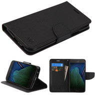 Diary Leather Wallet Case for Motorola Moto G5 Plus - Black