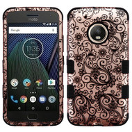 Military Grade Certified TUFF Image Hybrid Armor Case for Motorola Moto G5 Plus - Leaf Clover Rose Gold