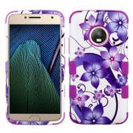 Military Grade Certified TUFF Image Hybrid Armor Case for Motorola Moto G5 Plus - Purple Hibiscus Flower Romance