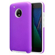 Haptic Football Textured Anti-Slip Hybrid Armor Case for Motorola Moto G5 Plus - Purple