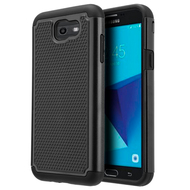 TotalDefense Hybrid Armor Case for Samsung Galaxy J7 (2017) / J7 V / J7 Perx - Black
