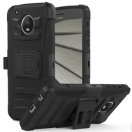 Advanced Armor Hybrid Kickstand Case with Holster for Motorola Moto G5 Plus - Black