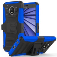 Advanced Armor Hybrid Kickstand Case with Holster for Motorola Moto G5 Plus - Black Blue