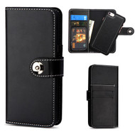 2-IN-1 Premium Leather Wallet with Removable Magnetic Case for iPhone 8 / 7 - Black