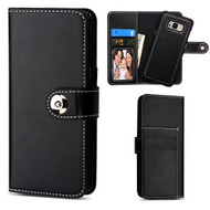 2-IN-1 Premium Leather Wallet with Removable Magnetic Case for Samsung Galaxy S8 Plus - Black