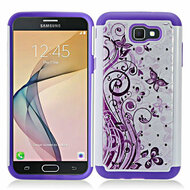 TotalDefense Diamond Hybrid Armor Case for Samsung Galaxy J7 (2017) / J7 V / J7 Perx - Butterfly Purple