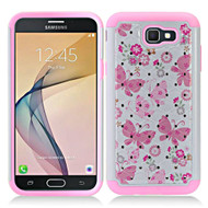 *SALE* TotalDefense Diamond Hybrid Armor Case for Samsung Galaxy J7 (2017) / J7 V / J7 Perx - Butterfly Pink