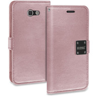 Essential Leather Wallet Case for Samsung Galaxy J7 (2017) / J7 V / J7 Perx - Rose Gold