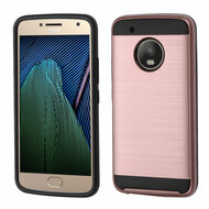 Brushed Hybrid Armor Case for Motorola Moto G5 Plus - Rose Gold