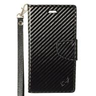 Leather Wallet Shell Case for Samsung Galaxy J7 (2017) / J7 V / J7 Perx - Carbon Fiber