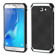 Chrome Tough Anti-Shock Hybrid Case with Leather Backing for Samsung Galaxy J7 (2017) / J7 V / J7 Perx - Black