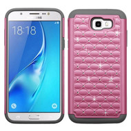 TotalDefense Diamond Hybrid Armor Case for Samsung Galaxy J7 (2017) / J7 V / J7 Perx - Pearl Pink Grey