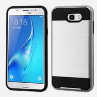 Brushed Hybrid Armor Case for Samsung Galaxy J7 (2017) / J7 V / J7 Perx - Silver