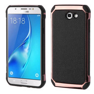 *SALE* Electroplated Tough Hybrid Case with Leather Backing for Samsung Galaxy J7 (2017) / J7 V / J7 Perx - Black