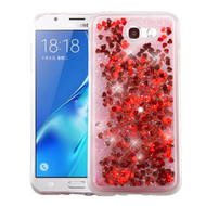Quicksand Glitter Transparent Case for Samsung Galaxy J7 (2017) / J7 V / J7 Perx - Red