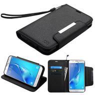 Designer Leather Wallet Shell Case for Samsung Galaxy J7 (2017) / J7 V / J7 Perx - Black