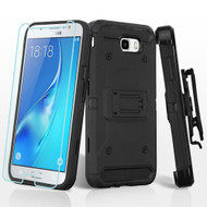 Kinetic Hybrid Case + Holster + Tempered Glass Screen Protector for Samsung Galaxy J7 (2017) / J7 V / J7 Perx - Black
