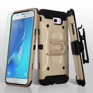 *SALE* Kinetic Hybrid Case + Holster + Tempered Glass Protector for Samsung Galaxy J7 (2017) / J7 V / J7 Perx - Gold