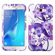 Military Grade Certified TUFF Image Hybrid Armor Case for Samsung Galaxy J7 (2017) / J7 V / J7 Perx - Purple Hibiscus