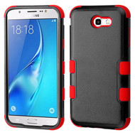 Military Grade Certified TUFF Hybrid Armor Case for Samsung Galaxy J7 (2017) / J7 V / J7 Perx - Black Red