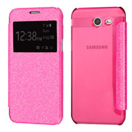 *SALE* Book-Style Hybrid Glitter Flip Case with Window Display for Samsung Galaxy J7 (2017) / J7 V / J7 Perx - Hot Pink