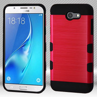 Military Grade Certified TUFF Trooper Dual Layer Hybrid Case for Samsung Galaxy J7 (2017) / J7 V / J7 Perx - Red