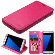 Book-Style Leather Folio Case for Samsung Galaxy J7 (2017) / J7 V / J7 Perx - Hot Pink